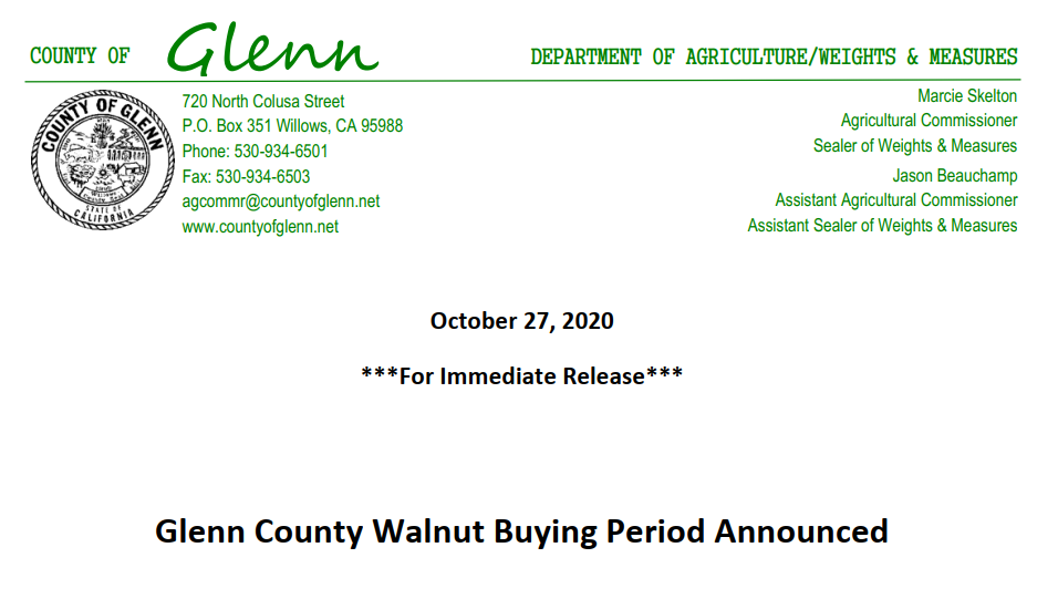 2020 Glenn County Walnut Buying Period Announced