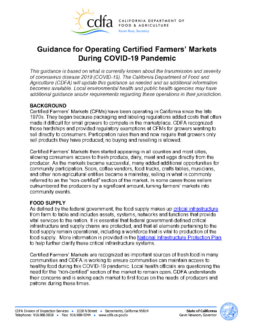Guidance for Operating Certified Farmers' Markets During COVID-19 Pandemic