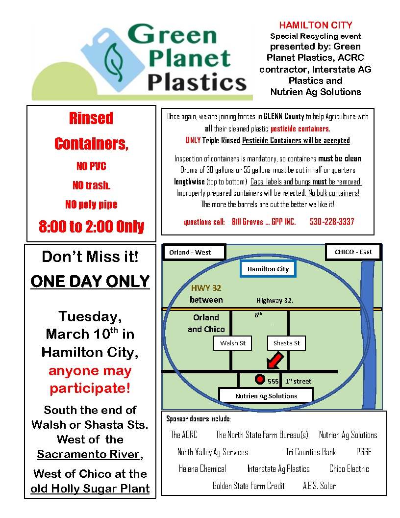 Glenn County Pesticide Container Recycling Day March 10, 2020