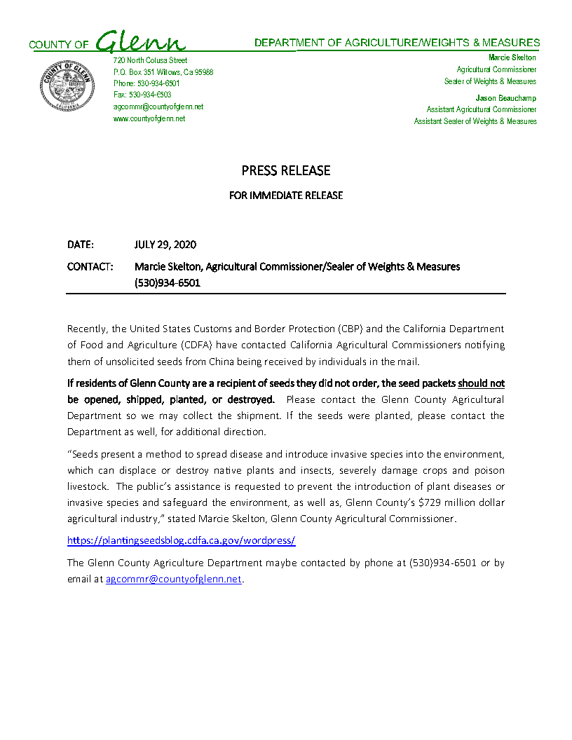 Glenn County Department of Agriculture - Press Release - Mysterious Seed Shipments