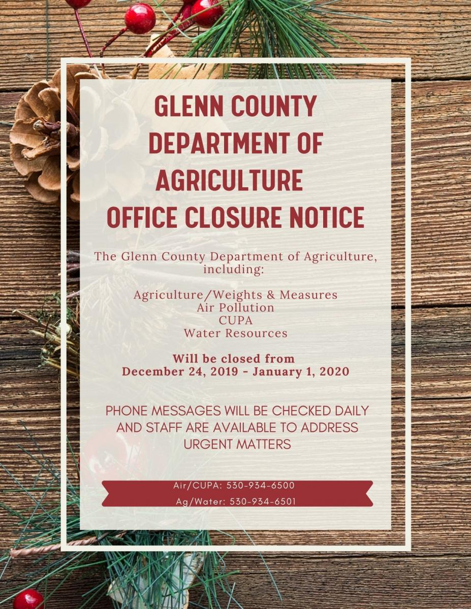 Office Holiday Closure Notice