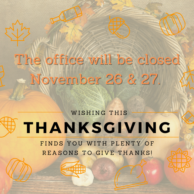 Thanksgiving Holiday Office Closure Notice