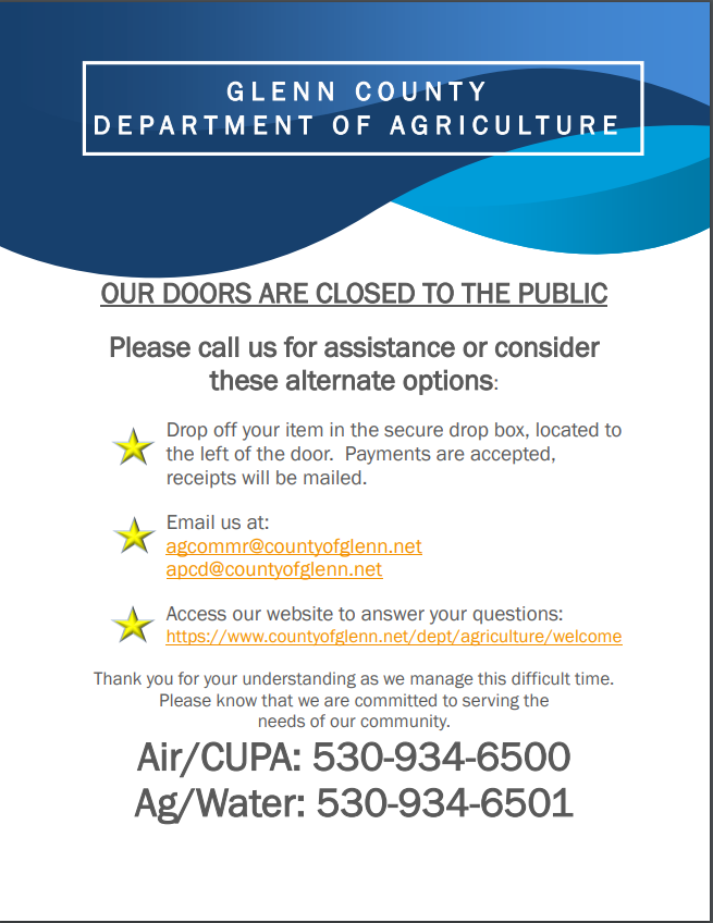 Image of public notice issued by Ag Commissioner regarding closure of office lobby