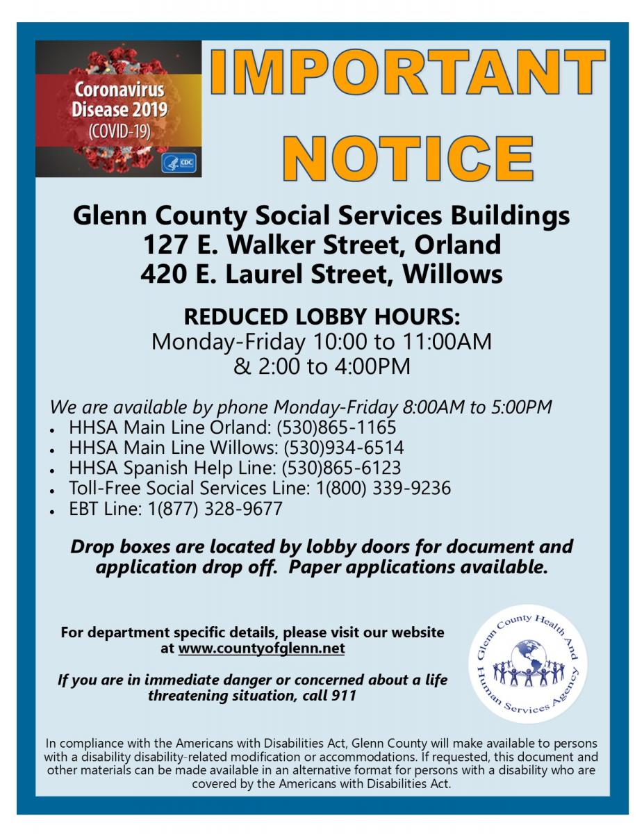 Image of Social Services lobby hours