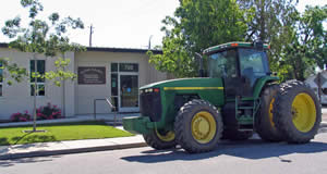 Tractor in parking lot
