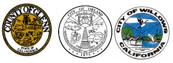 Seals for County of Glenn, City of Orland, and City of Willows.