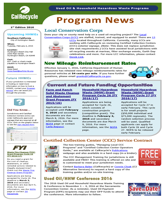 CalRecycle Program Newsletter