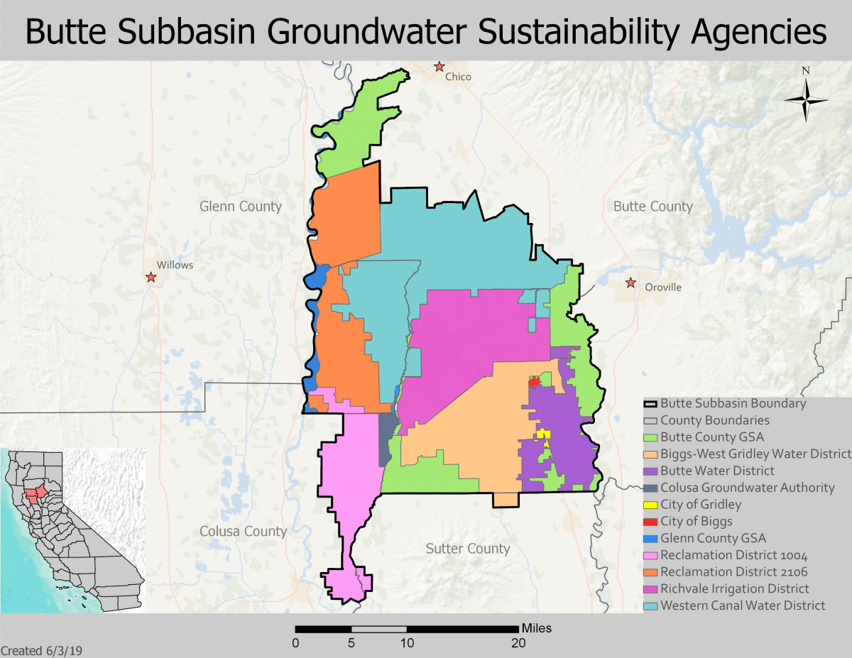 map of butte subbasin groundwater sustainability agencies