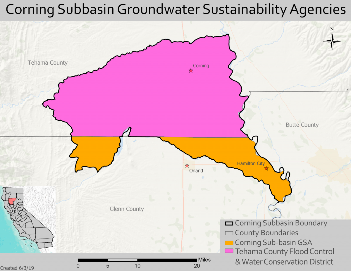 map of corning subbasin groundwater sustainability agencies