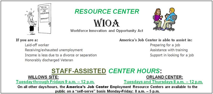 Workforce Innovation and Opportunity Act Resource Center hours and locations.