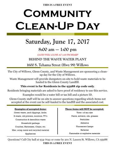City of Willows Clean-Up Event flyer