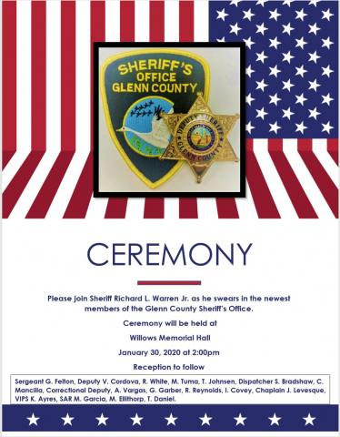 Flyer for the swearing in ceremony 1-30-2020