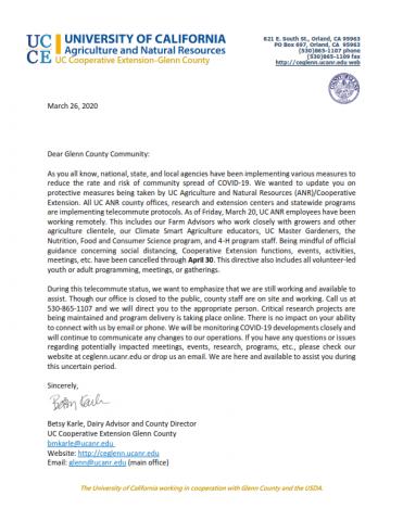 Cooperative Extension Communication regarding Covid-19