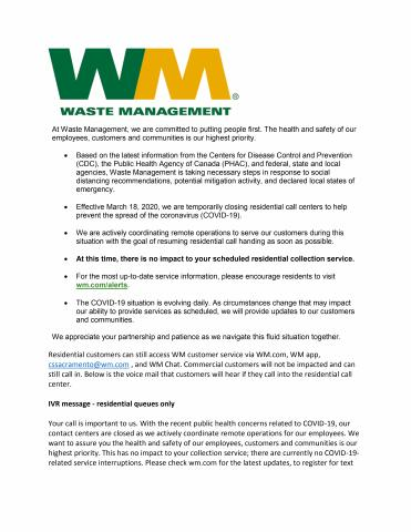 Image of Waste Management Notice Page 1 of 2