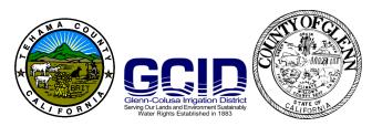 Tehama County, GCID, and Glenn County logos